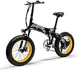 Bicicleta Eléctrica Plegable Potente 1000W/500W 35km/h Ruedas Anchas 20 x...