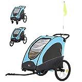 HOMCOM Remolque Infantil 3 en 1 para Bicicleta Carrito para Correr de 2 Plazas...